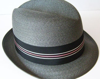 7 1/8 - Vintage Towncraft  Pewter Gray Summer Mens Hat
