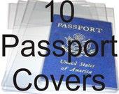 10 Clear Vinyl PassPort Covers Protective Holder Passport Case