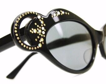 Vintage Bling Bling French Cat eye Glasses Sunglasses