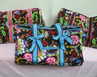 Turquoise Ladybug Quilted Duffle Bag with Personalized Embroidery