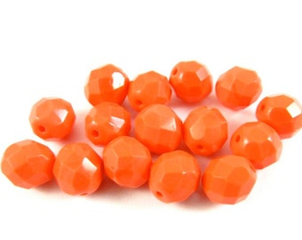 20 - Round Czech Fire Polished Faceted Glass Beads - Opaque Dark Coral - 8mm - FPCORL8