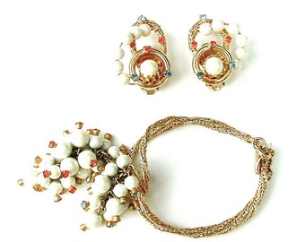HOBE Designer Bracelet Earrings Vintage Beaded Rhinestone Jewelry SGlamour Fashion Collectibles
