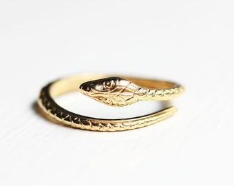 Snake Ring Gold, Adjustable Snake Ring, Spiral Snake Ring, Vintage Snake Ring, Gold Serpent Ring, Twist Snake Ring