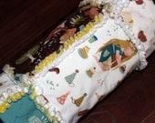 Organic Baby Girl Blanket - Cream Brown Blue White - Rag Quilt Blanket- Fort Firefly - Nursery Flannels - Ready to Ship
