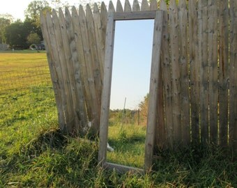 Reclaimed Wood Floor Mirror - Rustic Full Length Mirrors