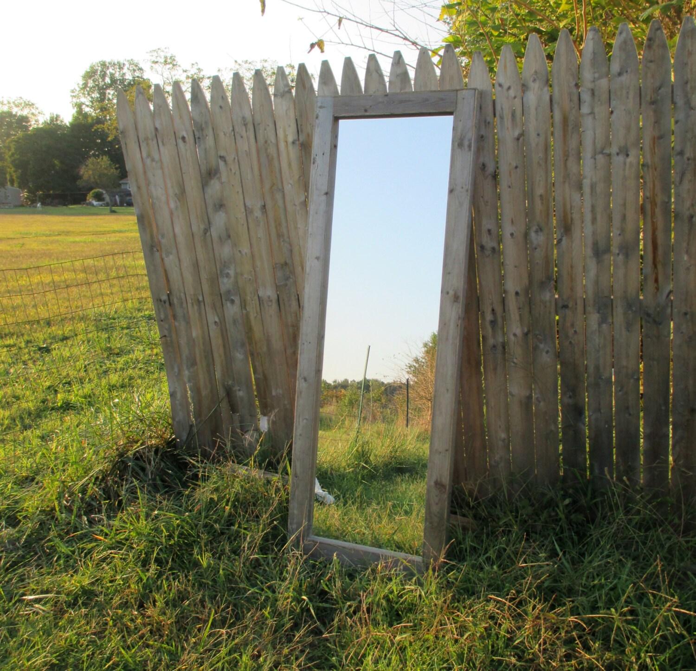 Reclaimed wood floor mirror rustic full length mirrors for Wood floor length mirror