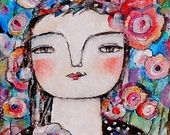 Original Painting Illustration Girl in the anemone garden  on canvas OOAC by miliaart