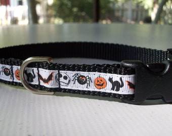 Small Dog Halloween Dog Collar, In S, XS Side Release Buckle