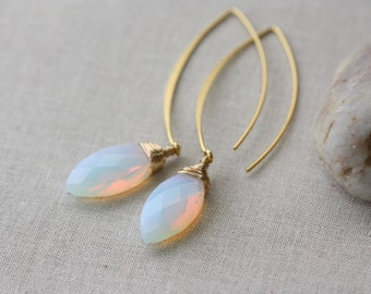 Milky Opalite Moonstone Marquise Long Earrings, Weddings, Summer Fashion, Jewelry Gifts, Bridal Earrings, Bridal Shop, Opaine White Earrings