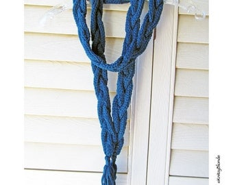 Skinny Braided Fashion Scarf, Hand Knit, Highland Wool, Custom Color, Made to Order, Blue