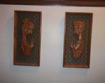 2 MidCentury praying wood carvings