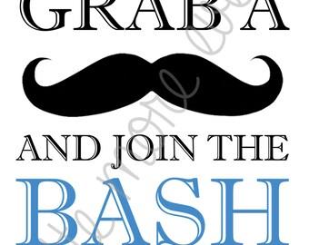 Little Man/Mustache Party Sign - Grab a Stache! (Digital File)