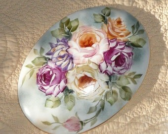 Hand Painted Rose Jewelry or Candy Box
