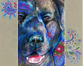 original art aceo 5x7 drawing Black Labrador Retriever zentangle drawing matted to 8x10