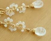 Moonstone Long Earrings, Teardrop Dangle Earrings, White Wedding Jewelry, Gift for her