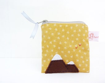 Coin Purse Mountain, Mountain Purse, Zipper Wallet, Handmade Fabric Purse - Mountain