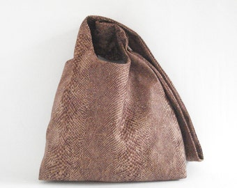 Handbag snake print hobo bag vegan shoulder bag faux suede lined handmade