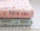 Japanese Cotton Fabric-French Style Petit Animal Friends Hands In Hands, Choose Color (Fat Quarter)