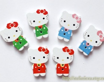 6PCS Wooden Buttons, Printed Color - Lovely Red Green Sky Blue Bow Hello Kitty, Choose Color (6PCS)