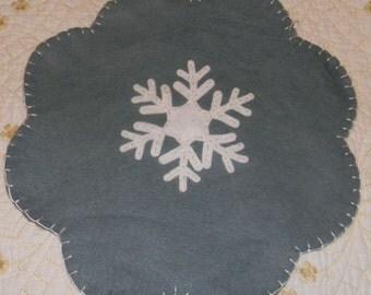 Wool Felt Penny Rug Snowflake Mat, Wool Felt Candle Mat