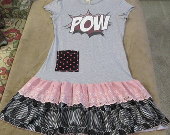 Upcycled dress tunic POW graphic tee vintage ruffle lace ladies S or girls L funky original