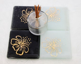 Fused Glass Coasters, set of 4, gold flower  on Elegant  Black and  White  Background