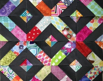 """Scrap Medley 3"""" 4"""" 5"""" 6"""" Paper Piecing Pattern for Sewing or Quilt Blocks PDF Instant Download"""
