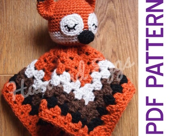 Amigurumi Woodland Sleepy Fox Security Baby Blanket Lovey PDF Crochet Pattern