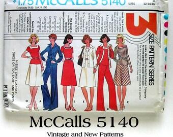 Ladies' Dress,Top, Slacks, Skirt, & Jacket - McCalls 5140 - Vintage Sewing Pattern, Sizes 12, 14, and 16