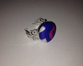 Preppy Lilly Pulitzer print adjustable silver plate ring