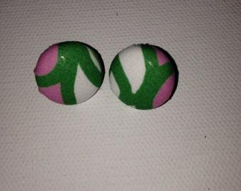 Preppy  Stud Earrings, Pink & Green Stud Earrings, Coverbutton Earrings, Stud Earring Set, Preppy Inspired Jewelry, Preppy Inspired Jewelry