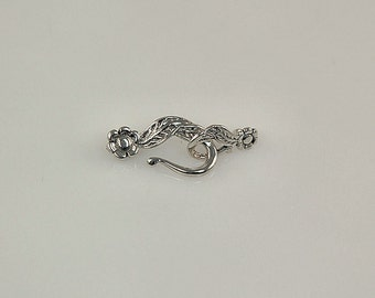 Flower Sterling Silver Hook Clasp - Double Flower Clasp