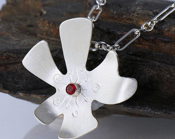 Silver Flower Necklace, Mexican Fire Opal Pendant, Eco Friendly Silver Flower Pendant