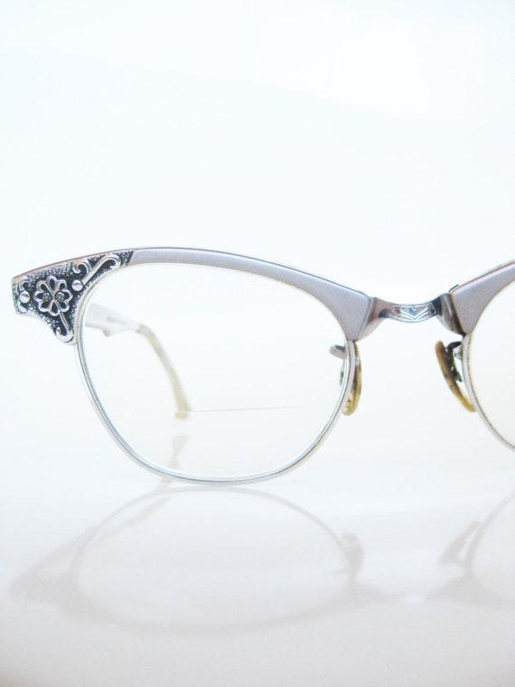 Vintage art craft rose pink eyeglasses cat eye 1950s cateye for Art craft eyeglasses vintage