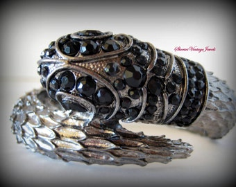 Vintage Art Deco Egyptian Revival  Snake Bracelet Clamper Style Black Rhinestone Head