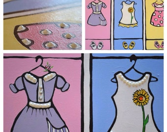 Pearl Collection 16x20 Custom Canvas Painting of Three Adorable Baby Doll Dresses with Matching Booties