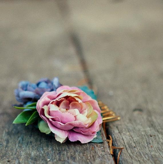 Dusty Rose Hair Comb, Floral Bridal Fascinator, Light Purple, Woodland Bridal Hair, Wedding Accessory