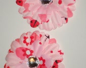 Set of 2 Small Pink Lady Bug Hair Flower Clip Bows no slip grips Daisy