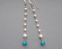 Crystal Pearls Blue Opal Gold Earrings