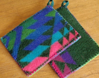 Pot Holders - Upcycled Pendleton Wool
