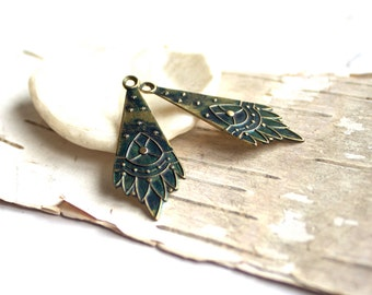 Blue Patina Brass Tribal Charms - 2 pcs.