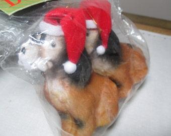 80s Flocked Spaniel Dog Ornament Set With Santa Hats