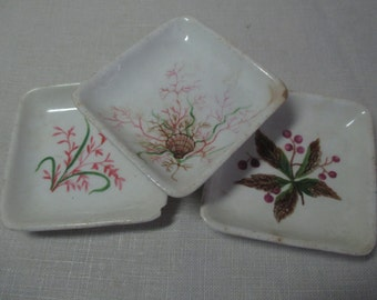 Lovely Vintage Butter Pat Dish Trio John Maddock and Sons England Floral and Shell