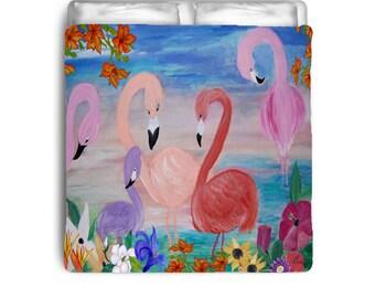 Flamingo garden comforter from my art