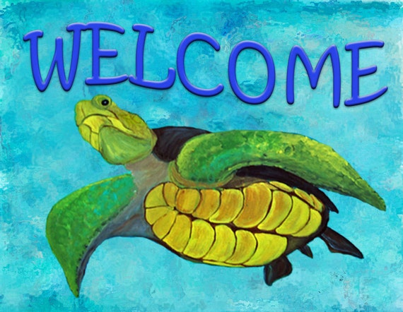 Welcome Sea Turtle Art Area Rug Indoor Outdoor