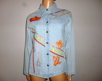 Vintage 90's - Light Blue - Stonewashed - Denim - Embroidered Applique - Hippie - Jacket - Coat - NOS _ Marked size Large - Bust:46""