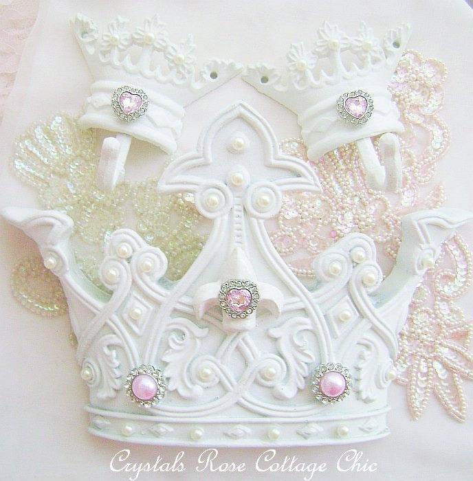 Shabby Chic Bed Crown Canopy Set Crown Wall Decor Crown Hooks Girls Room Fleur De Lis
