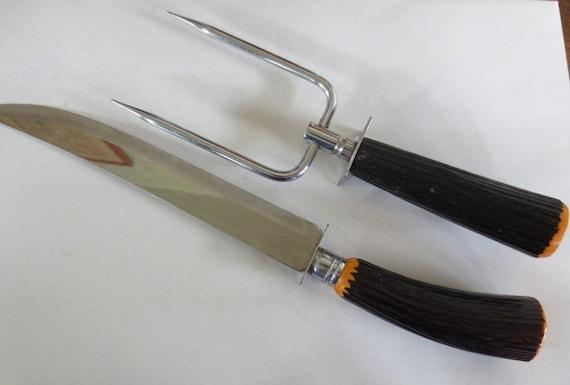 Bakelite/Faux Horn Handled Carving Set