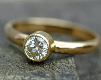 18k Recycled Gold White Brilliant Cut Diamond Solitaire Engagement Ring- Custom Made GIA Certified