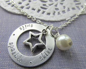 Smile. Sparkle. Shine. Star, washer, handstamped necklace. Graduation, motivational, encouragement jewelry.